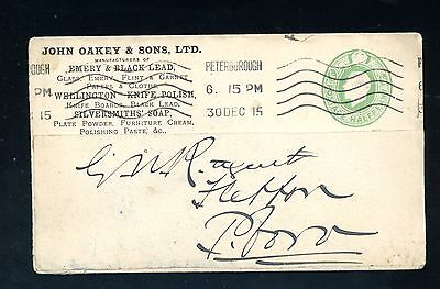 John Oakey & Sons  Advertising Cover 1915  from Peterborough   (F1002)