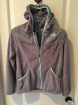 Great Used Condition North Face Osso Hooded Gray Fleece Girl's Coat, L14/16 (12)