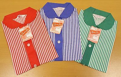 3 x VINTAGE 1970's UNWORN GIRL STRIPED PETER PAN COLLAR BLOUSES ASSORTED COLOURS