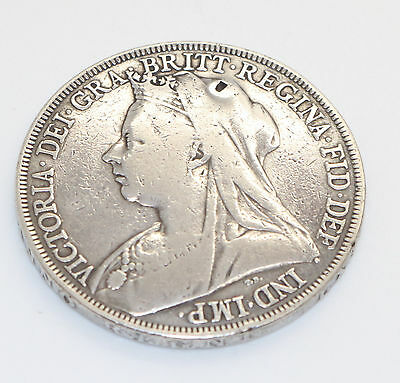 1897 Queen VICTORIA Old Veiled Head LXI Sterling Silver CROWN Coin