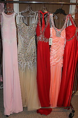 LOT of 14 Prom gowns, sizes 0-12 women's long formal beaded gonws, variety style