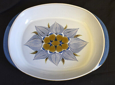"Langley, England, colourful glazed ceramic serving plate/platter 12.5"" long (T2)"