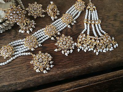 Indian jewellery set, gold earrings necklace Tika Jhumar Pearls Bridal