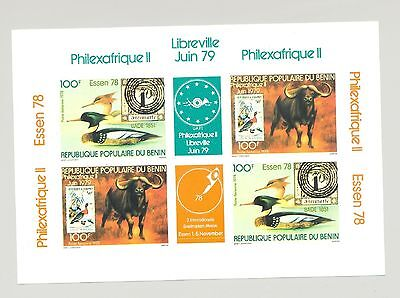 Benin #286a Animals, Birds 1v Imperf M/S of 2 Setenant Pairs