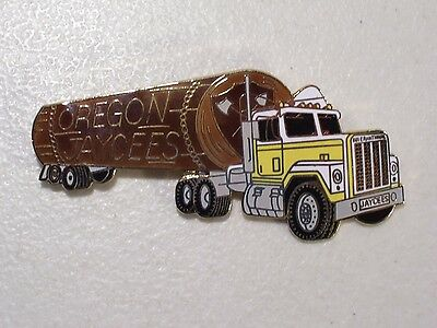 Vintage Oregon Jaycees Logging Semi Truck Enamel Lapel Hat Pin