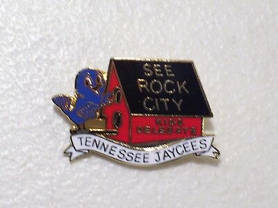 Vintage Tennessee Jaycees See Rock City Lapel Hat Pin Blue Bird White Banner