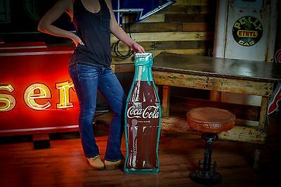 Original Coca Cola Coke Bottle Embossed advertising sign Tin 1950's Nice cond.