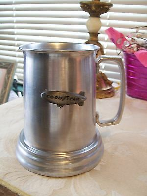 "Goodyear Tire & Rubber ""Blimp"" Brushed Silver  With Clear Bottom Stein/Mug"
