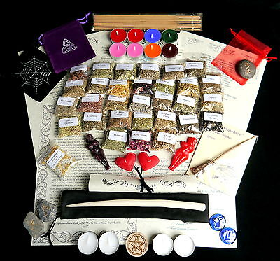 Large Witches Starter Herb Set Spell Ingredients Kit Willow Wand Wicca Pagan