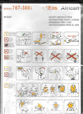 1 x EAST AFRICAN B767-300ER SAFETY CARD *5Y-CCC*