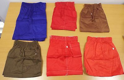 6 PAIRS OF VINTAGE 1970s UNWORN CHILDREN'S CHINO SHORTS ASSORTED SIZES & COLOURS