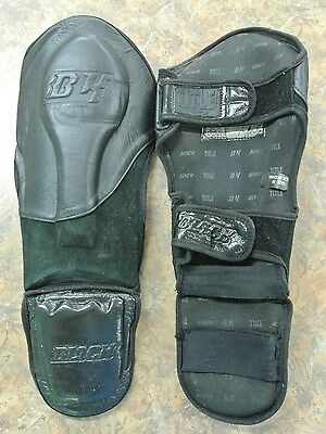 TITLE BLACK Sparring Shin Guards Pair Size Medium