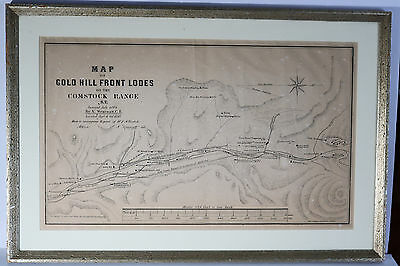 Rare 1864 MAP OF GOLD HILL FRONT LODES COMSTOCK MINES NEVADA TERRITORY Gold Rush
