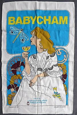 Vintage Babycham advertising linen/cotton tea towel ##DAC63BS