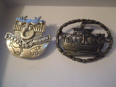 NOAH'S ARC ANIMAL BOAT BROOCH, LOT of 2 COLLECTIBLE Pins Jewelry