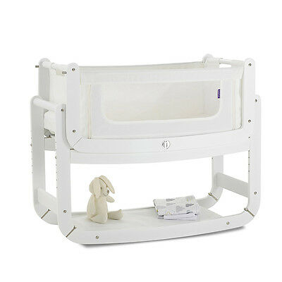 Snuzpod Bedside Crib and Mattress White Suitable From 0 6 Months