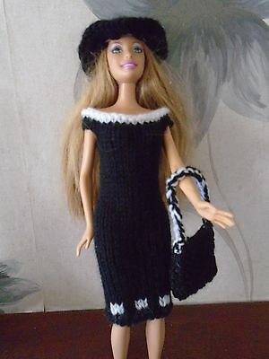 Barbie Clothes Pretty Black And White Outfit Hand Knitted New