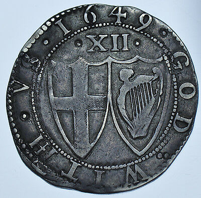 RARE 1649 COMMONWEALTH SHILLING, mm. SUN, BRITISH SILVER HAMMERED COIN VF