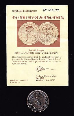 1984 Ronald Reagan Series AA Double Eagle Commemorative Coiin  - w/COA