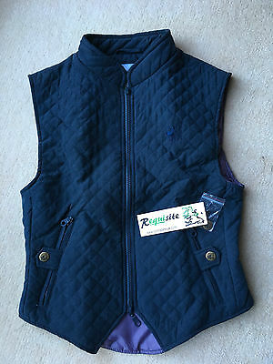 BNWT Robinsons Blue Quilted Horse Riding Waist Jacket Size Small