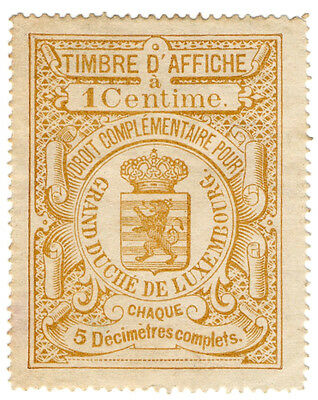 (I.B) Luxembourg Revenue : Advertising Duty 1c (Affiches)