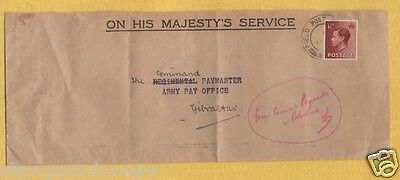 EDVIII 1936 COMMAND PAYMASTER PALESTINE OHMS Cover to ARMY PAY OFFICE GIBRALTAR