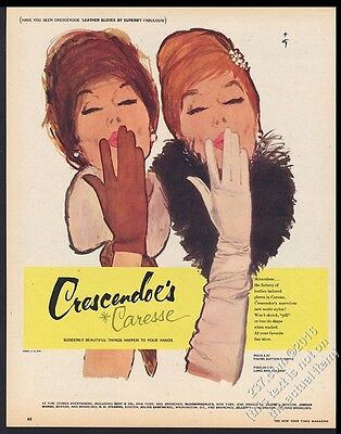 1960 Rene Gruau art Crescendoe Caresse women's gloves vintage print ad