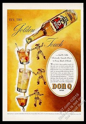 1946 Don Q Puerto Rican Rum bottle glass swordsman art vintage print ad