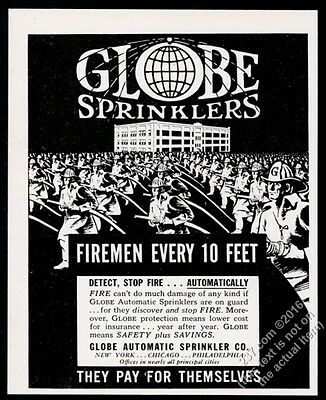 1951 Globe sprinklers firemen Detect Stop Fire Automatically vintage print ad