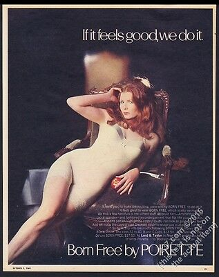 1969 Poirette Born Free lingerie bodysuit woman color photo vintage print ad