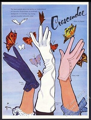 1954 Rene Gruau butterfly art Crescendoe women's gloves vintage print ad