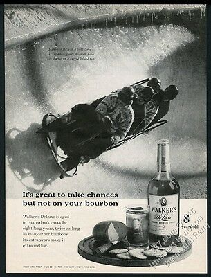 1961 bobsled run photo Walker's DeLuxe Bourbon whiskey vintage print ad