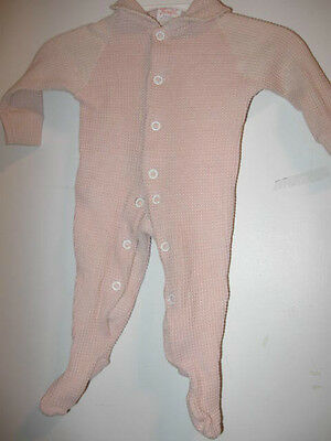VINTAGE Girls Pink Knit JUMPSUIT small up to 12lbs infant baby One-Piece play