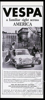 1960 Vespa scooter moped and 400 car photo vintage print ad