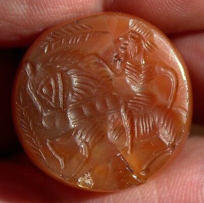 Beautiful Ancient Carved Carnelian Stone Intaglio Depicting A Horse & Rider
