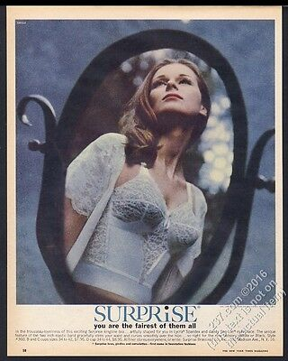 1963 Surprise lingerie white lace longline bra color photo vintage print ad