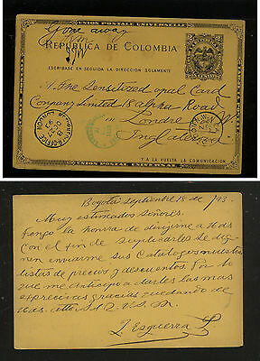 Colombia  postal card to England  1893 nice markings         MS0709