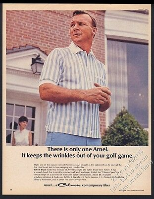 1965 Arnold Palmer photo Robert Bruce shirt Arnel fabric vintage print ad