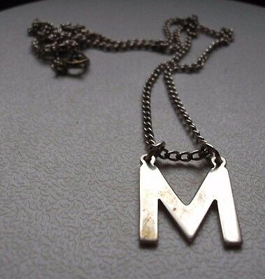 """Solid silver letter """" M """" pendant on chain"""
