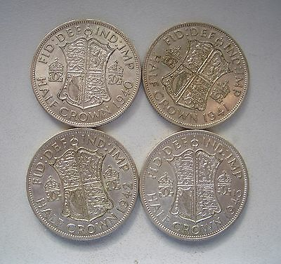 UK,Four silver Halfcrowns,1940,1941,1942  and 1943, Each 32.1 mm and 14.2 Grams