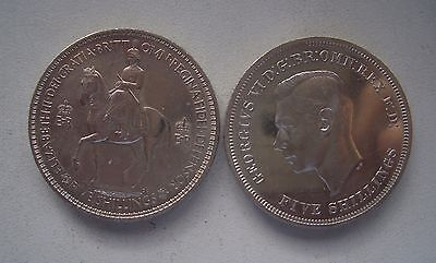 UK. Crowns of 1951 and 1953, Prooflike and Uncirculated, each 38 mm
