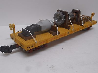USA Trains UNION PACIFIC FLAT CAR w/ Industrial Load & Metal Wheels G scale