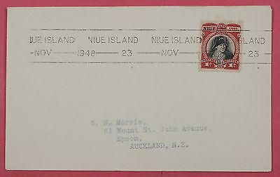 1948 Niue Cook Islands Straight Line Cancel Single Franked Cover To New Zealand