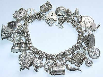 Stunning Vintage c1960 Solid Silver Charm Bracelet Articulated Charms Beautiful