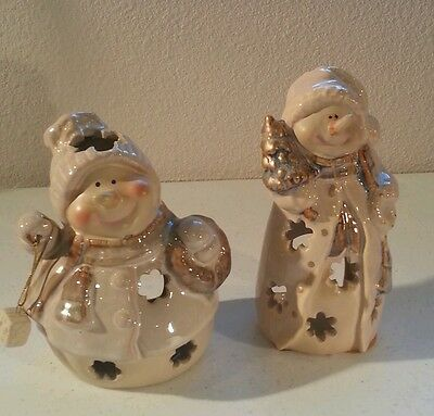 Snowman w/ Snowflakes Cut Outs Tea Light Candle Holder lot Christmas