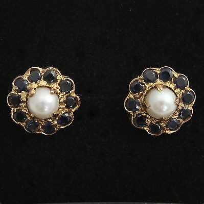 9ct Yellow Gold Sapphire Cultured Pearl Cluster Stud Earrings Hallmarked 1968
