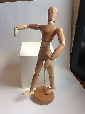 """New Wooden Artists Mannequin 6 1/2"""" On Stand 7 1/2"""""""