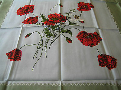 "VINTAGE/RETRO IRISH LINEN MIX PRINTED TABLECLOTH ""POPPIES"" 51"" x 52"" UNUSED w LA"