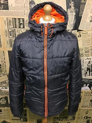 Original Superdry Insulated Puffer Quilted Jacket Hooded Coat Fleece Lined M