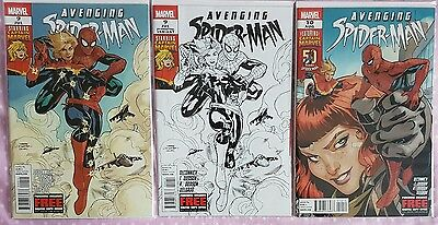 AVENGING SPIDERMAN 9 first & second print + 10. 1st appearance Captain Marvel